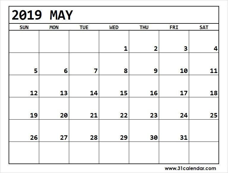 Editable May 2019 Blank Calendar