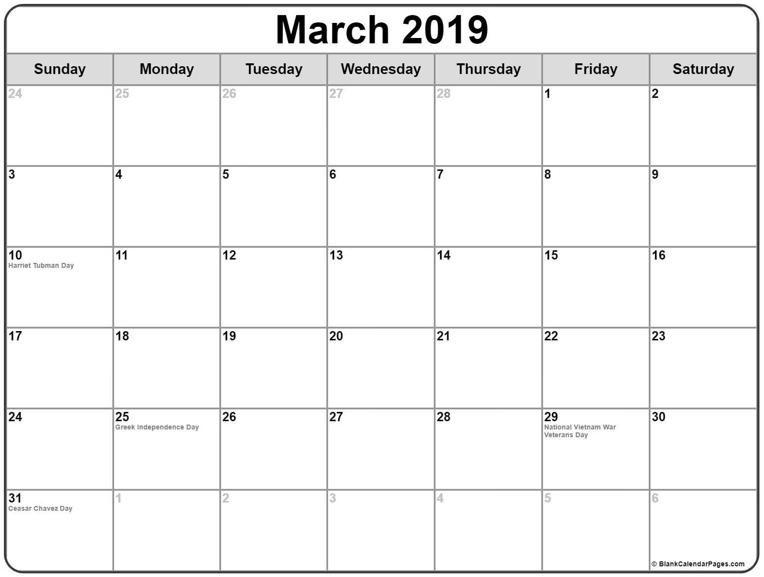 Federal Holidays Calendar March 2019 For USA