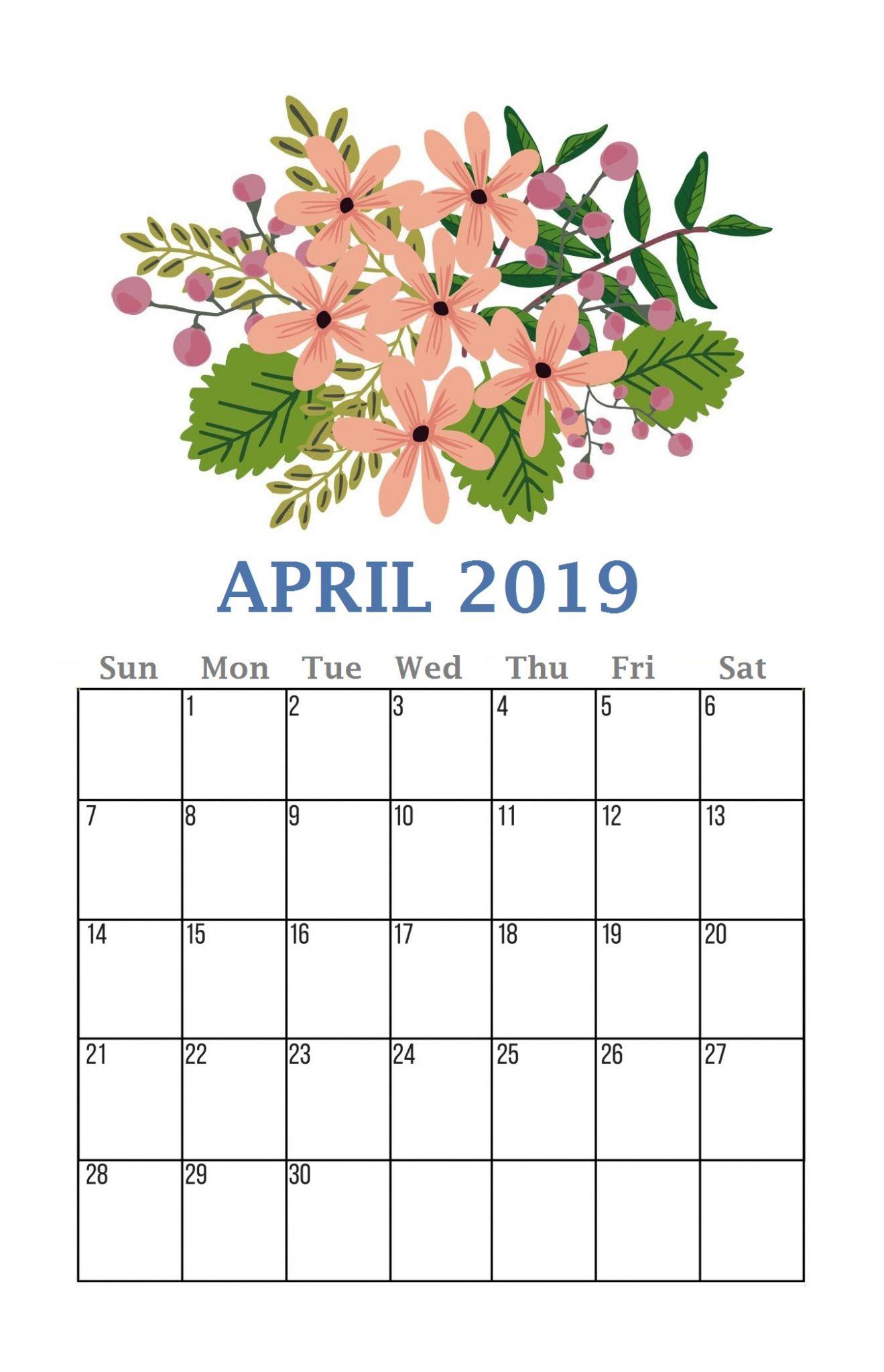 Floral April 2019 Calendar Template