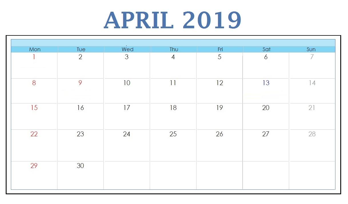 Free April 2019 Calendar Download
