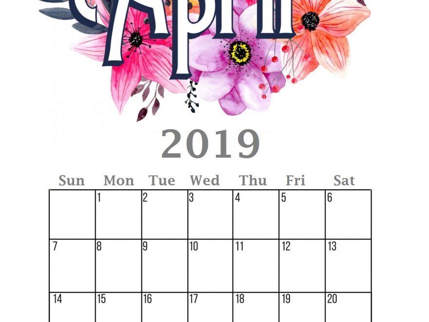 Free April 2019 Calendar Printable