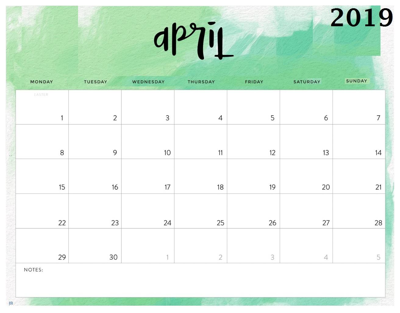 Free April 2019 Calendar To Print