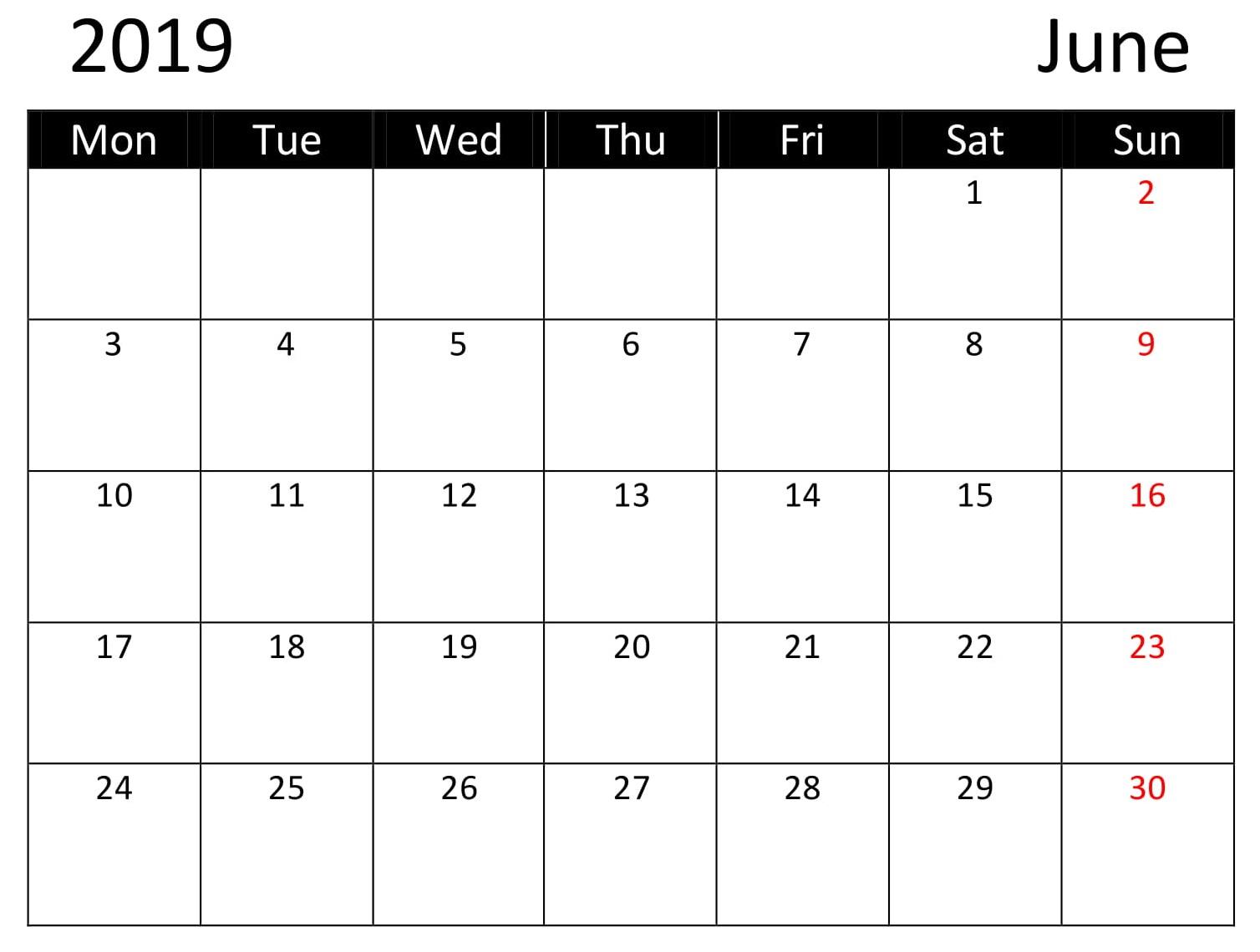 Free June Calendar Printable 2019