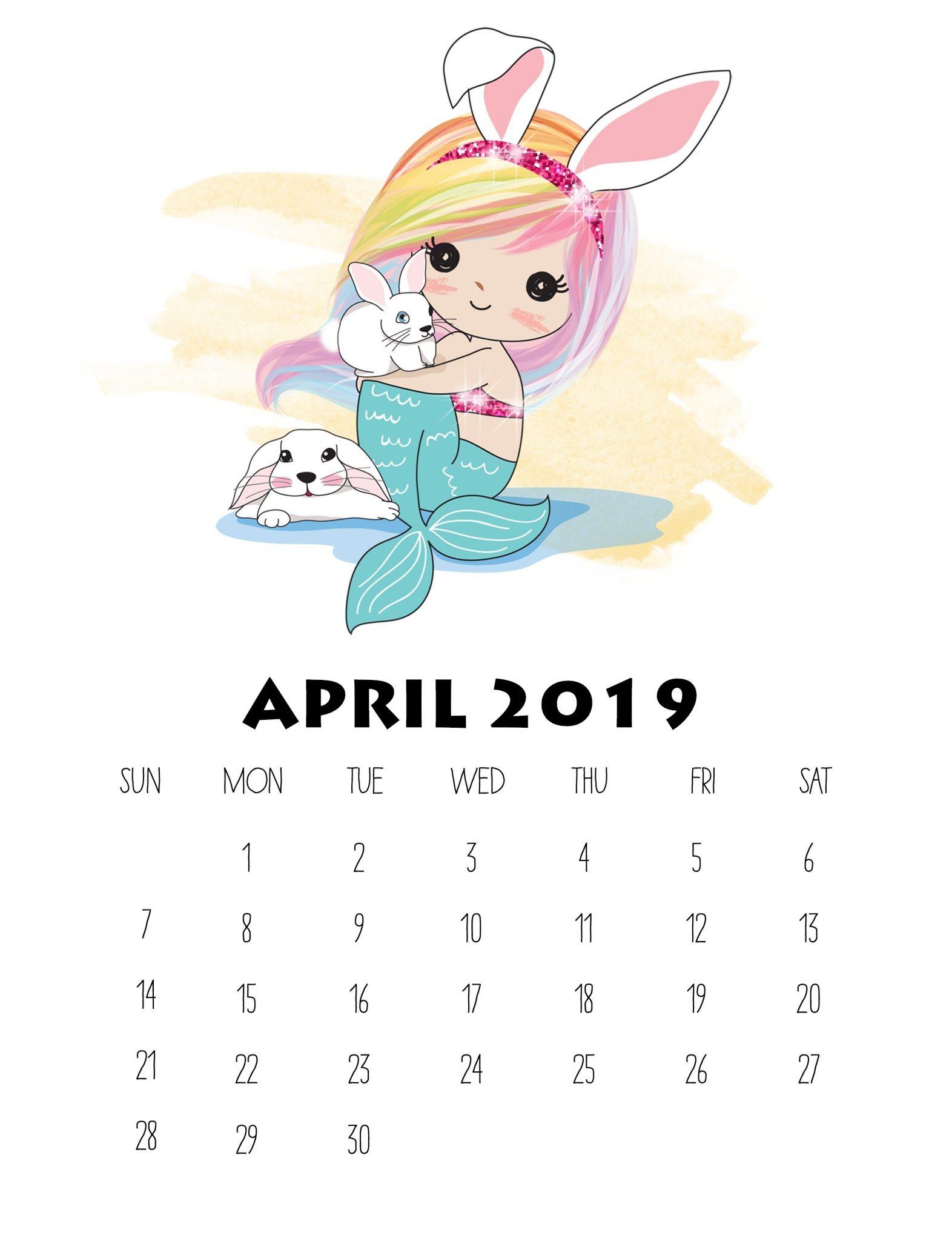 Free Printable April 2019 Wall Calendar