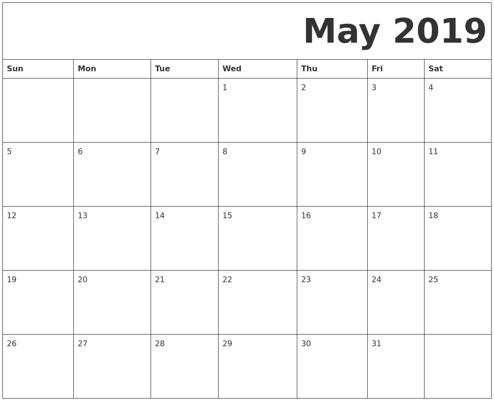 Free Printable May 2019 Calendar Template
