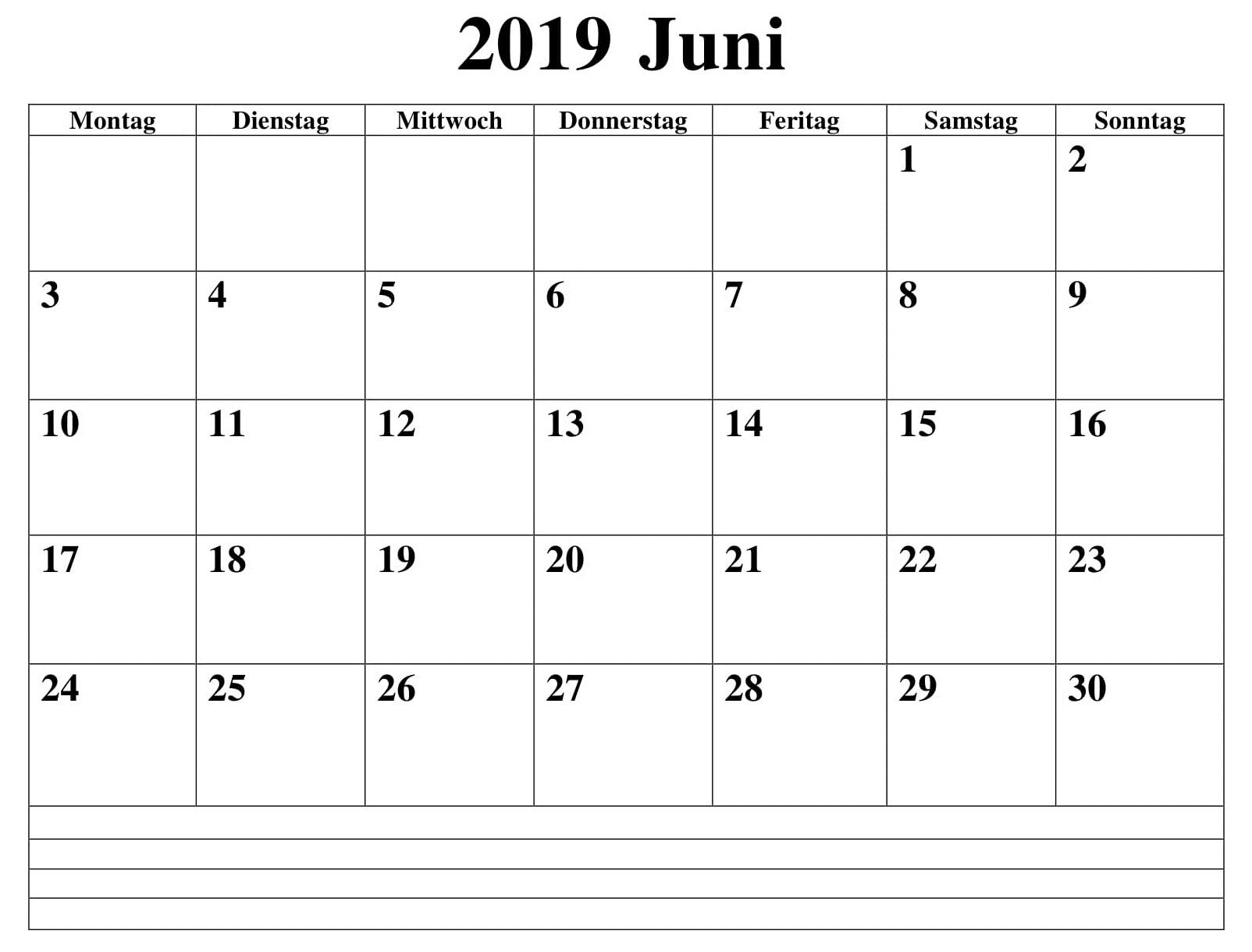 Frei Kalender Juni 2019