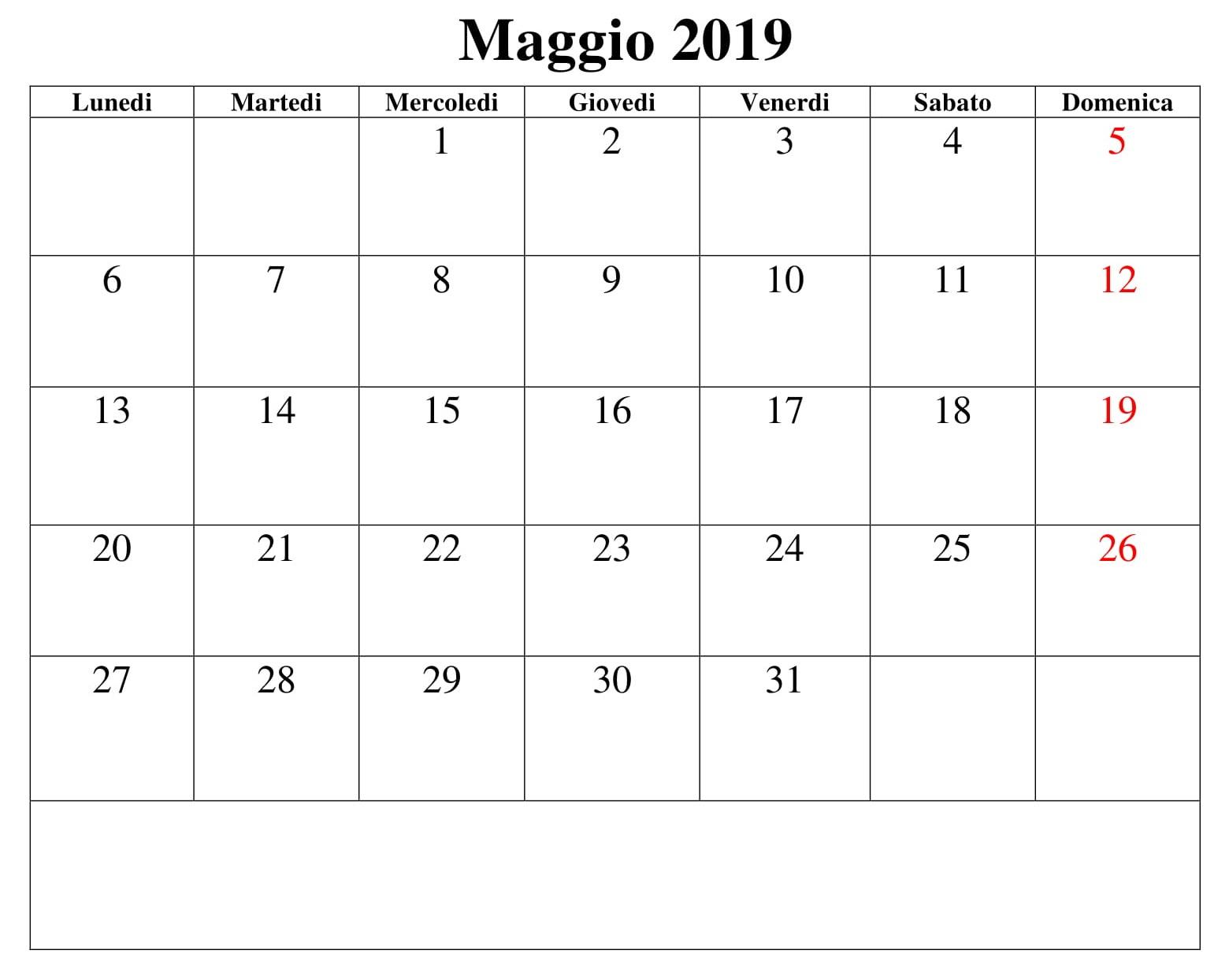 Grande Maggio 2019 Calendario