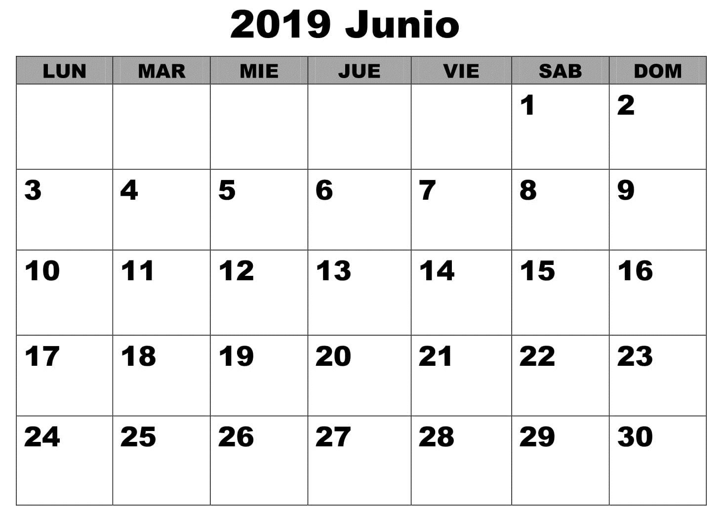 Gratis Calendario Junio 2019 Para Imprimir