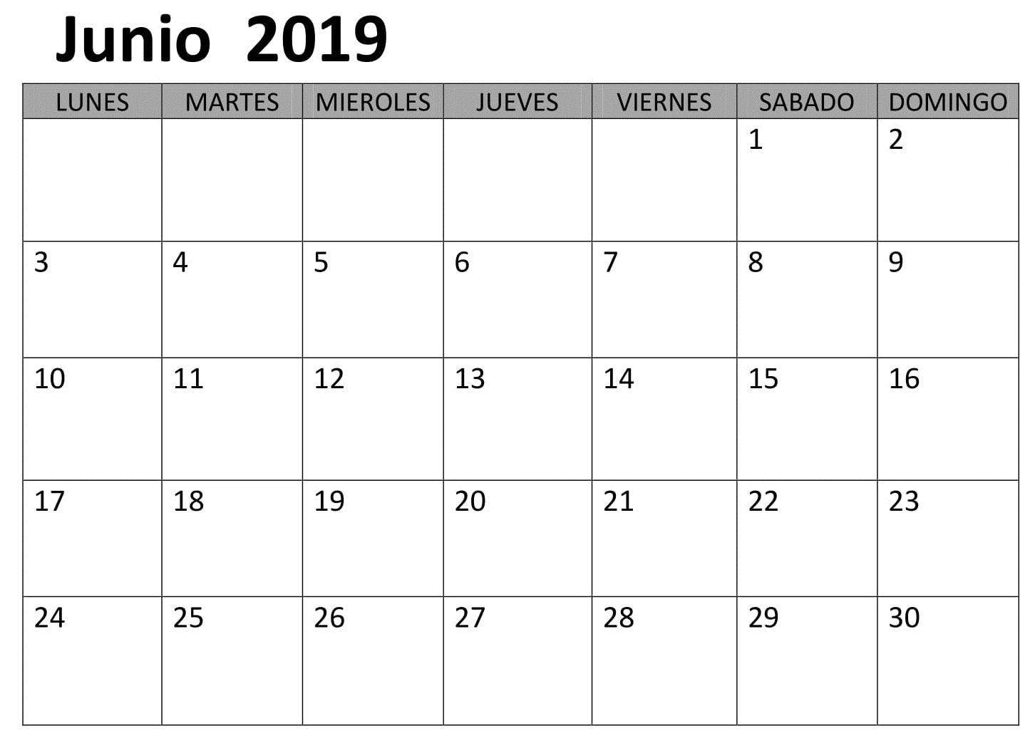 Gratis Calendario Junio 2019