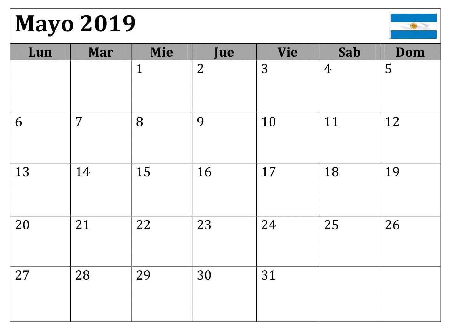 Gratis Mayo Calendario 2019 Argentina