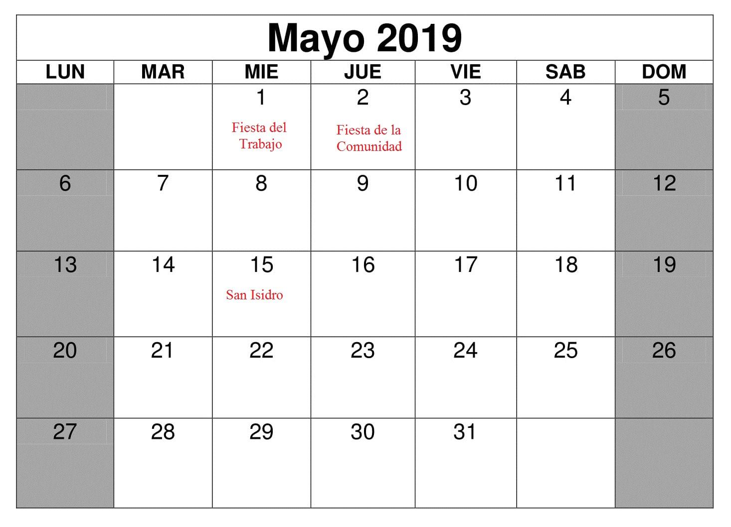 Gratis Mayo Calendario 2019 Con Festivos