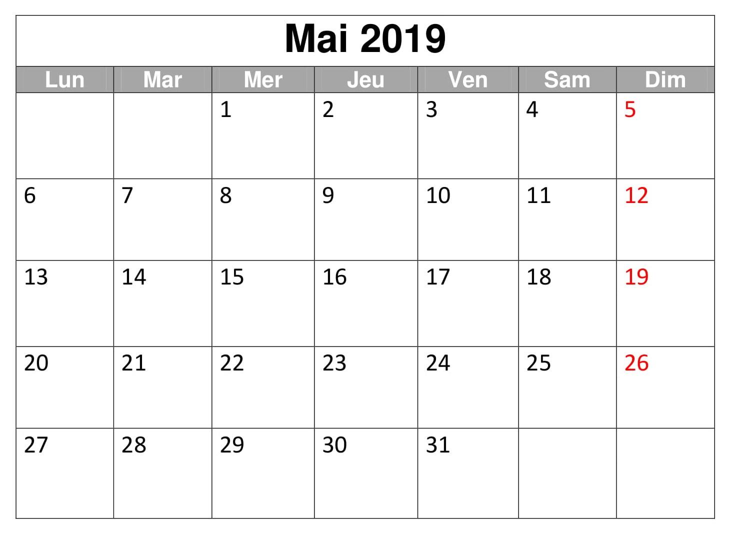 Gratuit Mai Calendrier 2019 PDF