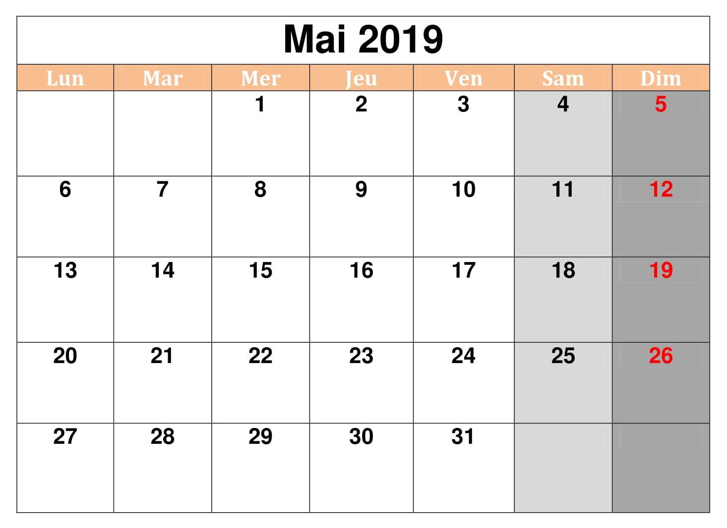 Gratuit Mai Calendrier 2019