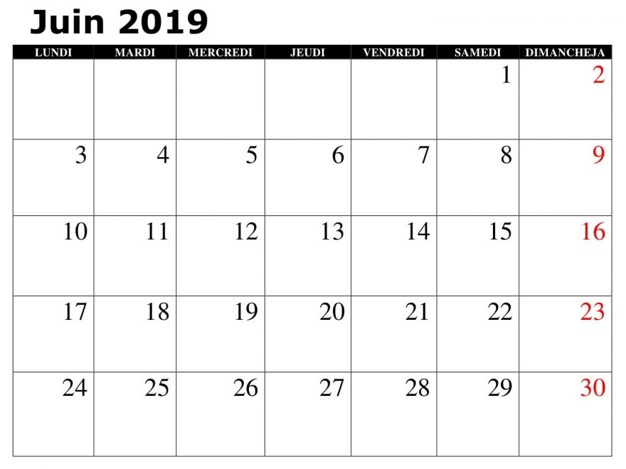 Juin Calendrier 2019 PDF