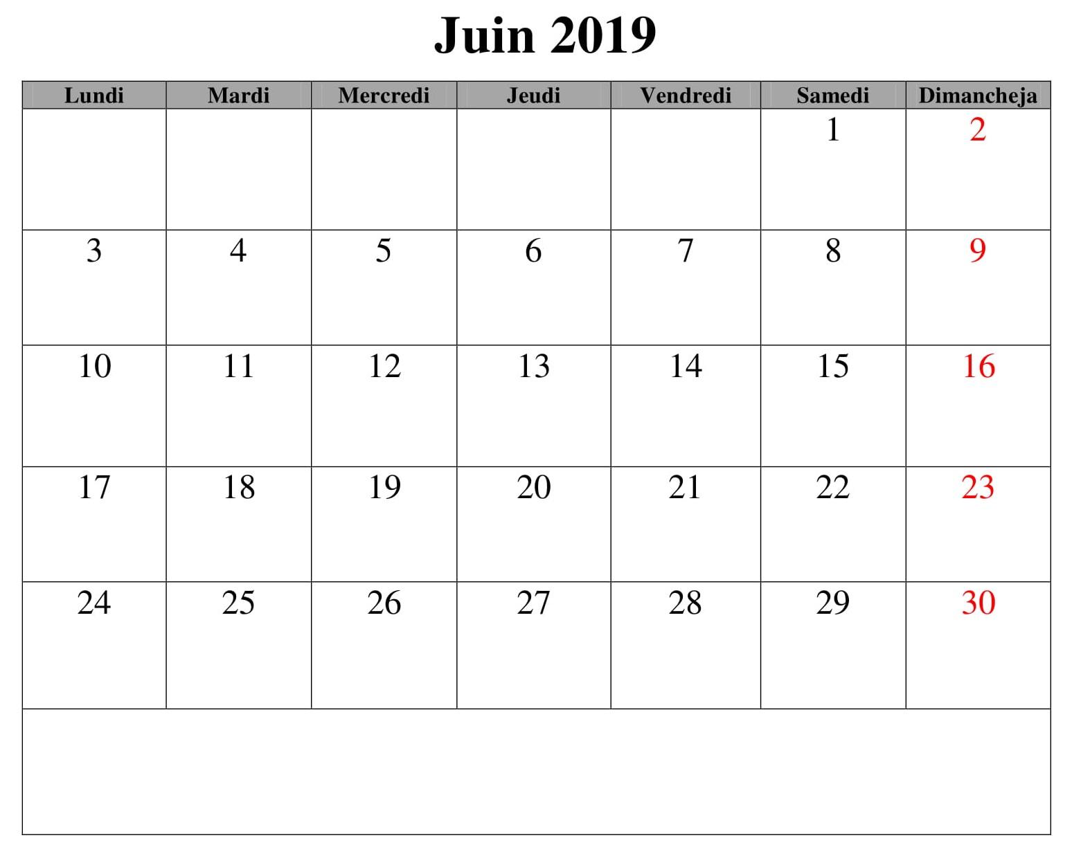 Juin Calendrier Mois 2019