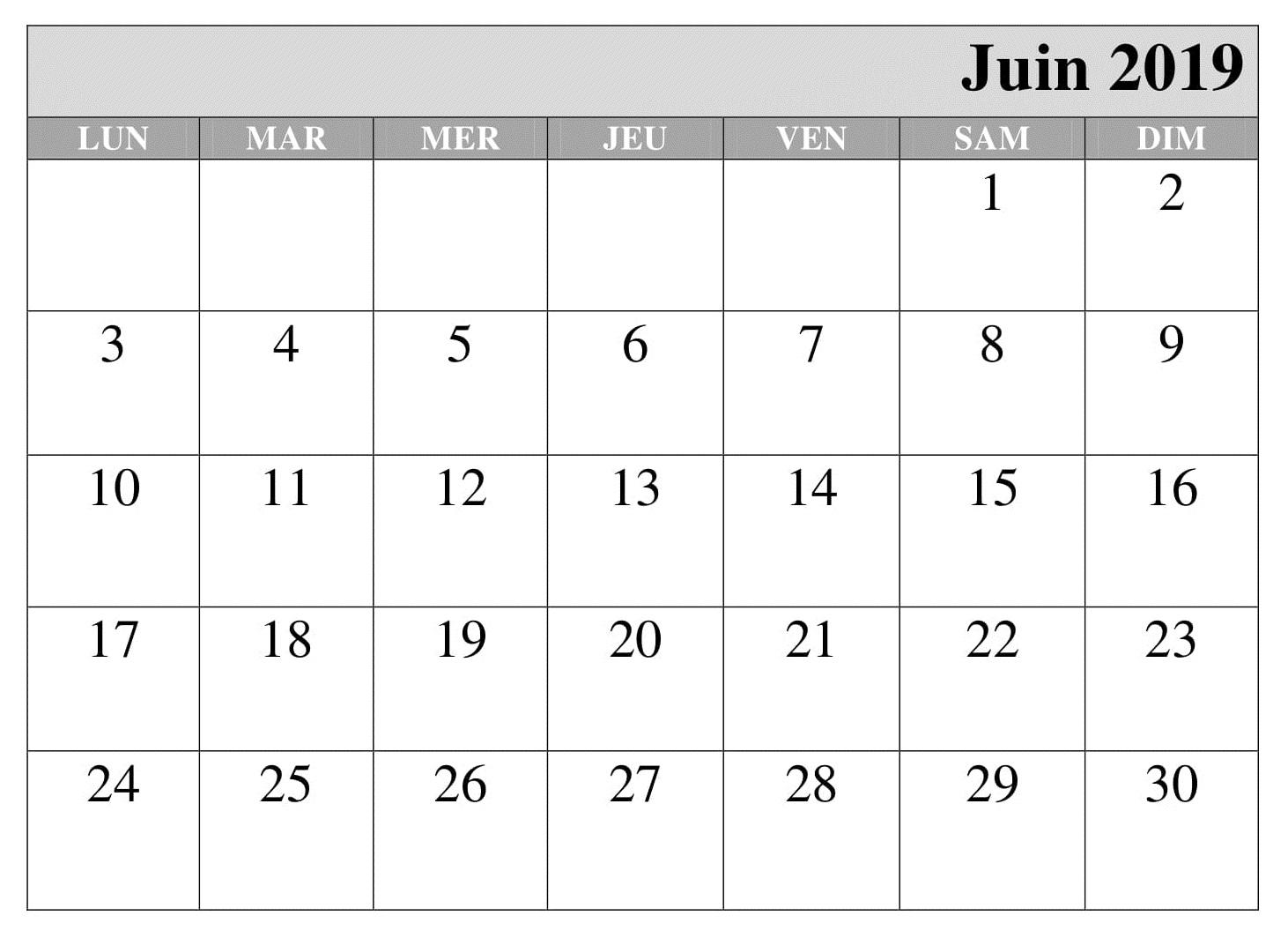 Juin Gratuit Calendrier 2019