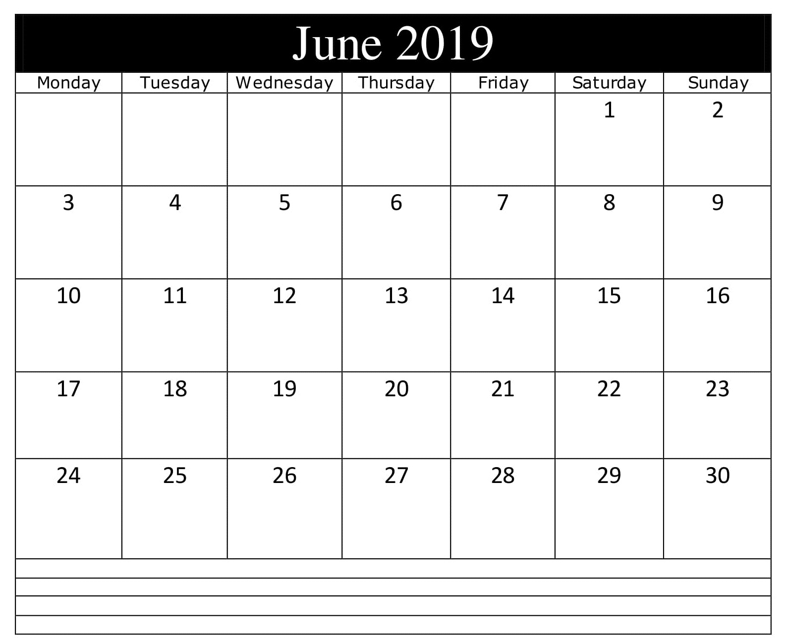 June 2019 Calendar Notes Printable