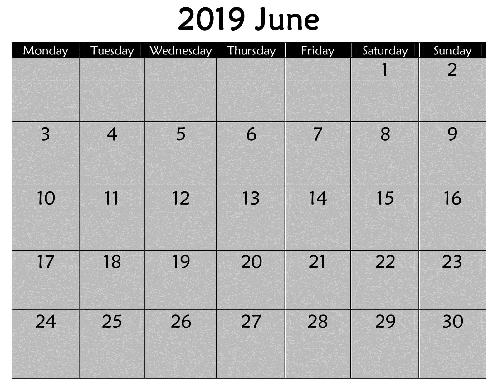 June 2019 Editable Calendar Template