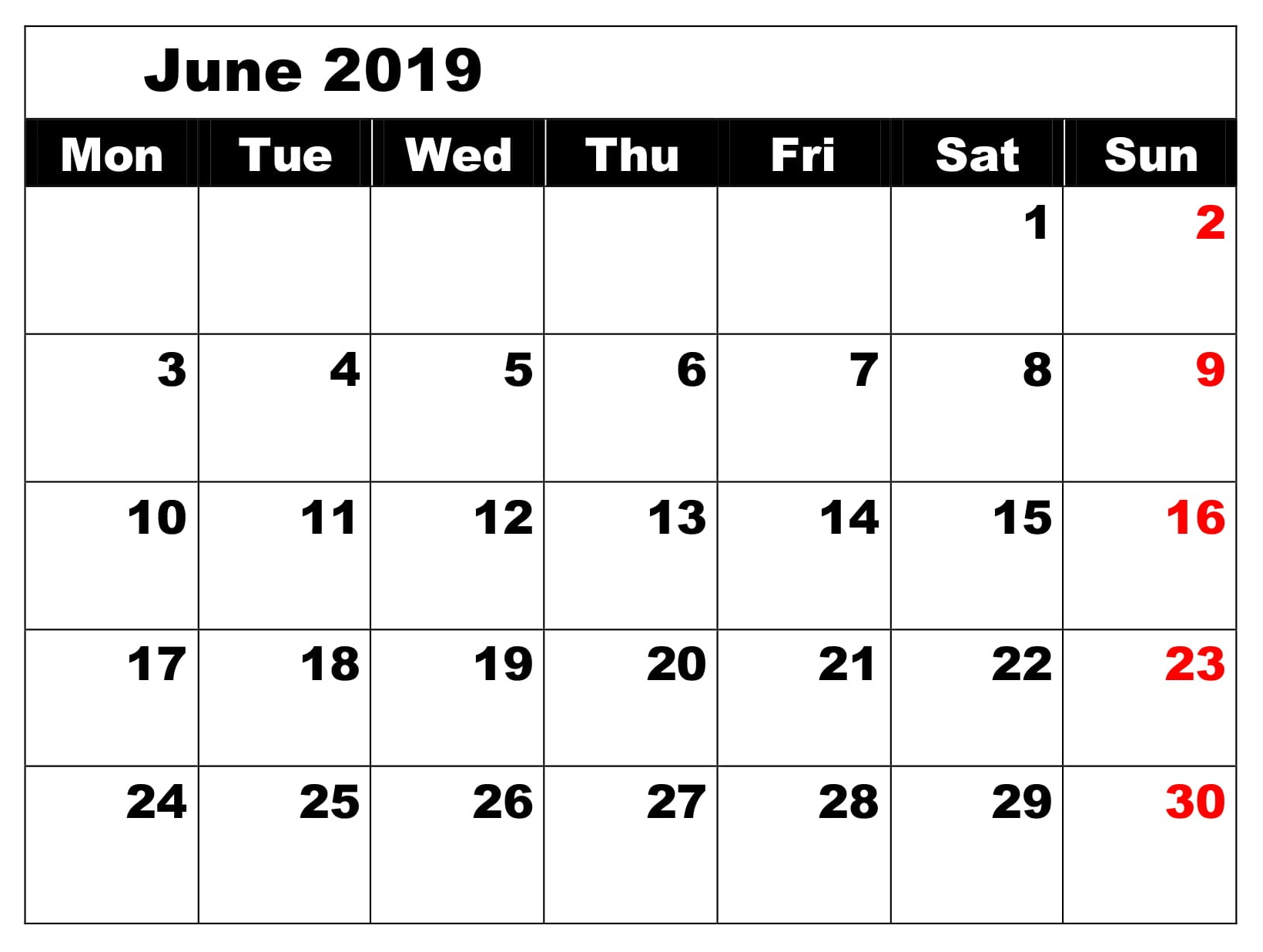 June 2019 Notes Calendar Template