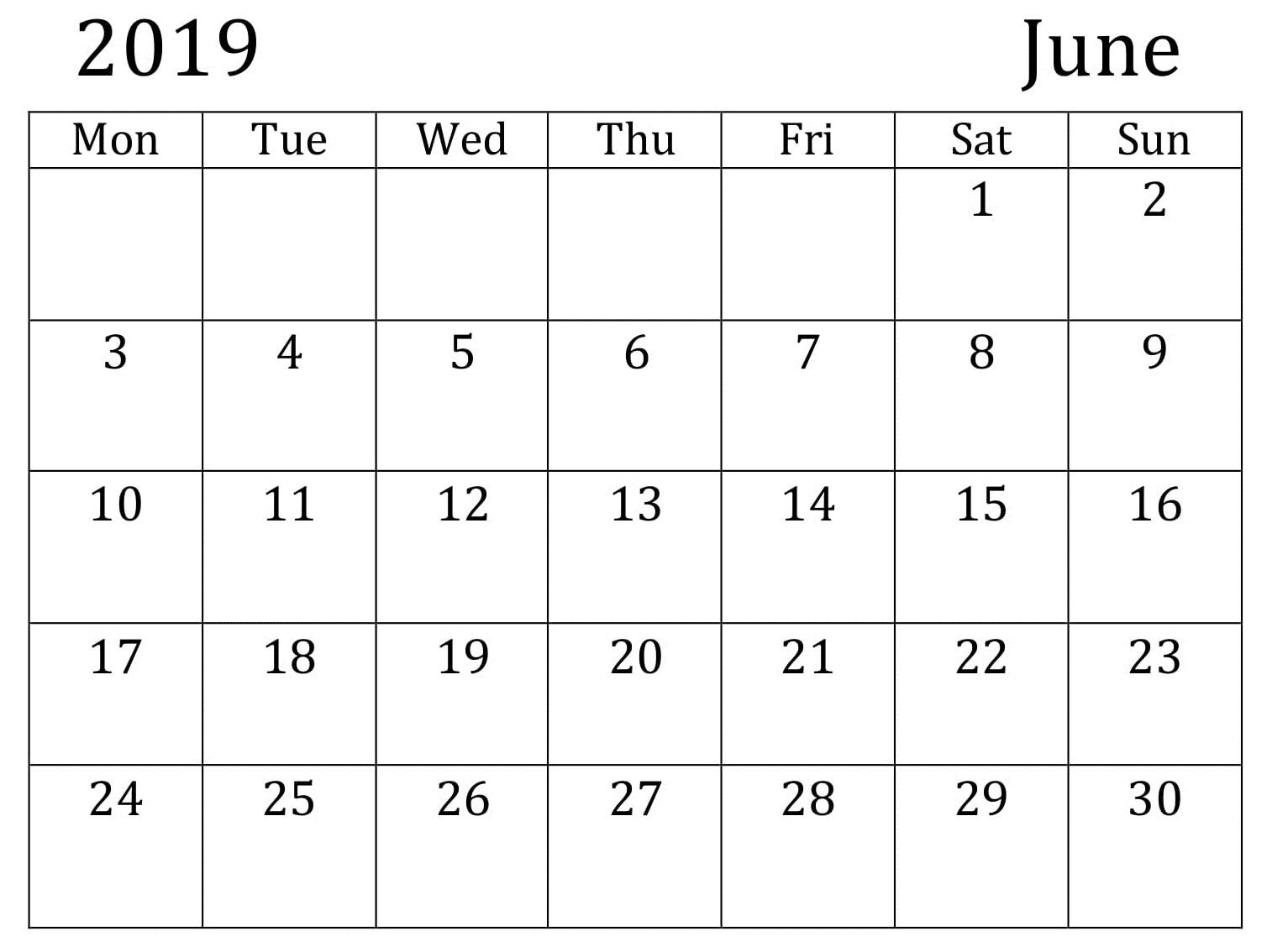 June Calendar 2019 Printable PDF