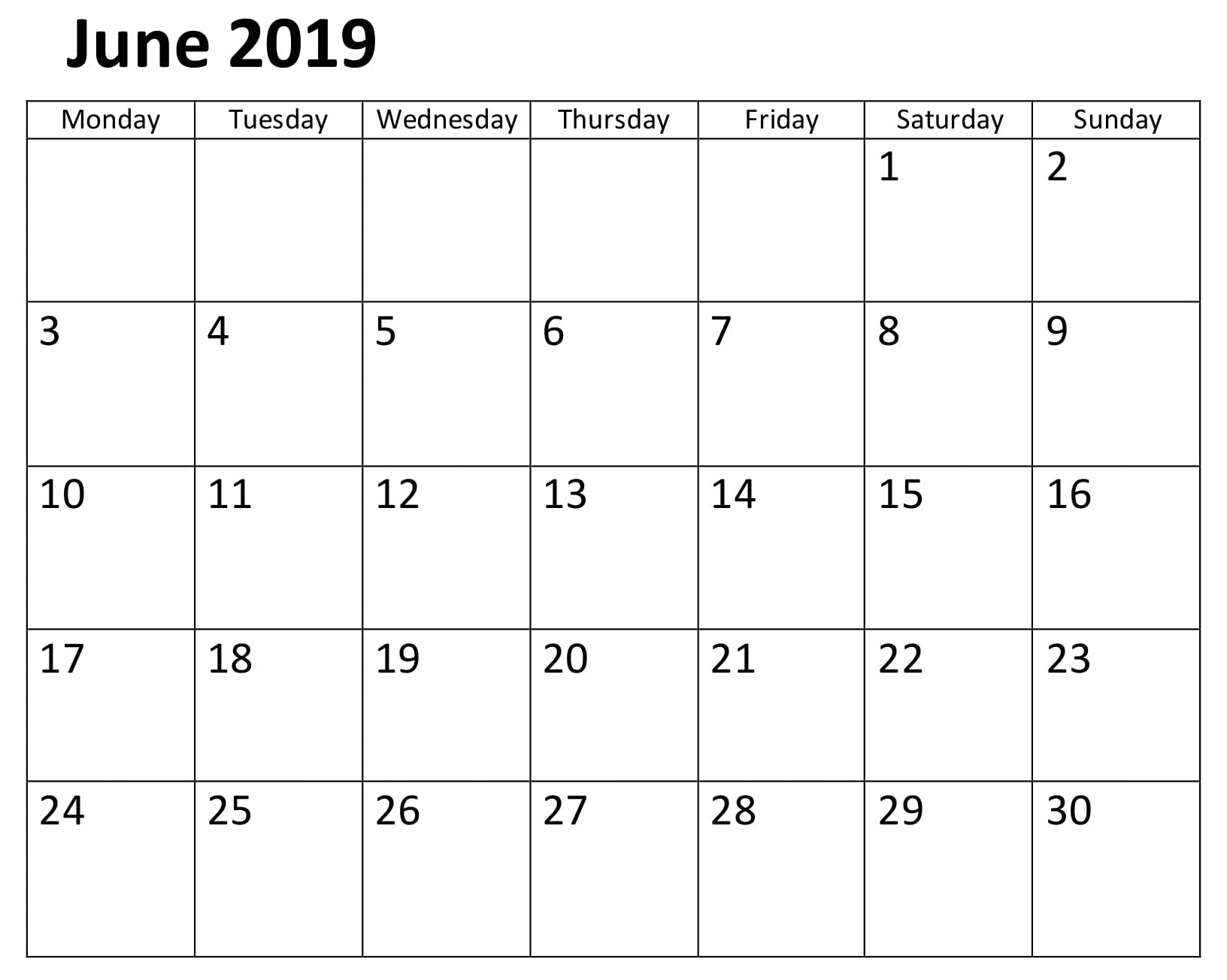 June Calendar 2019 Template PDF