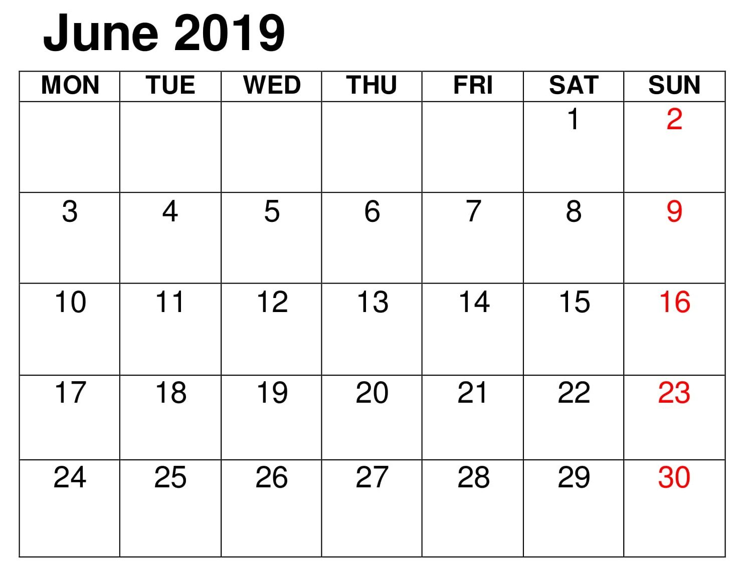 June Calendar Printable 2019 Excel