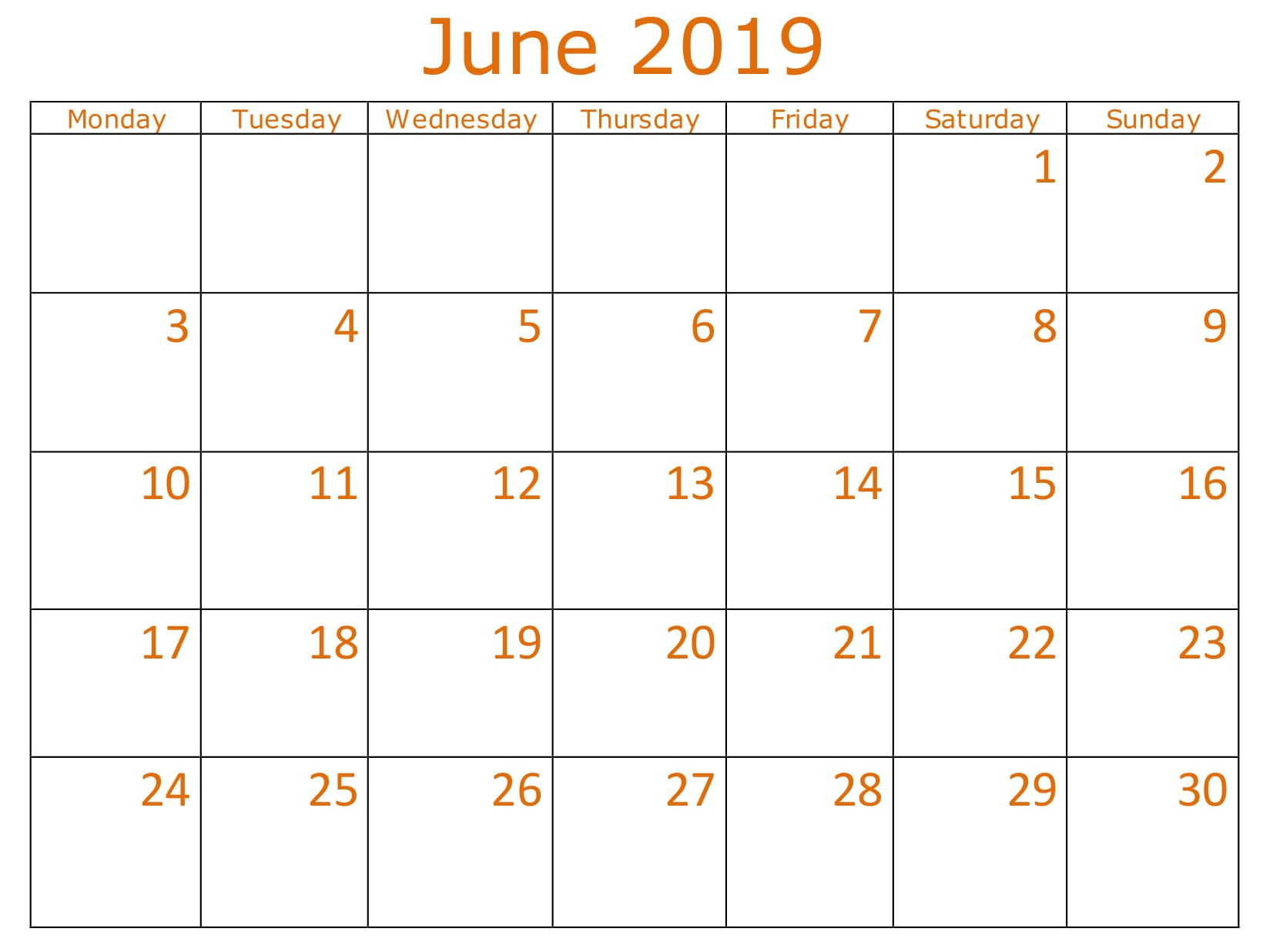 June School 2019 Calendar Printable