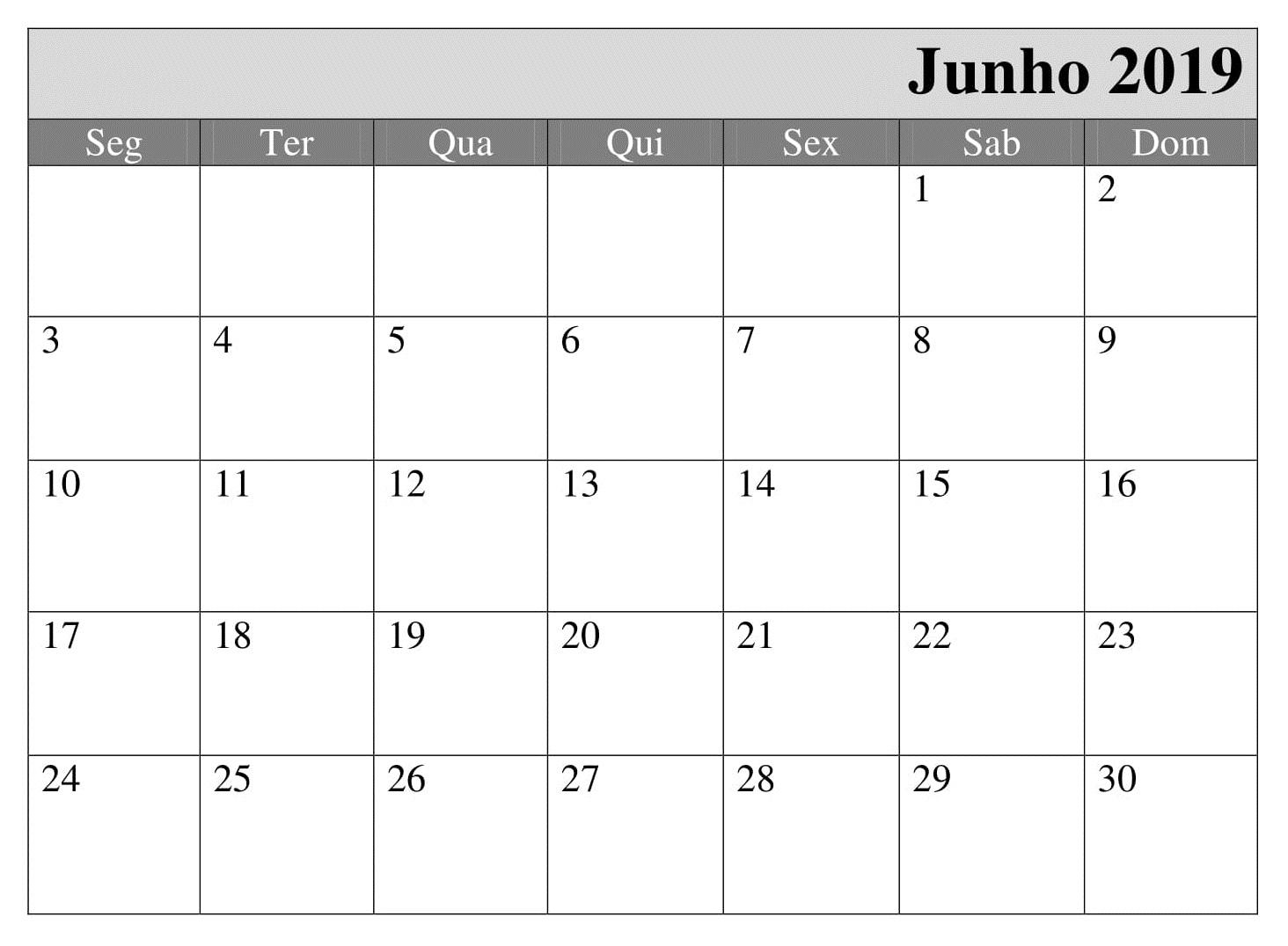 Junho Calendário 2019 Editavel Para Imprimir