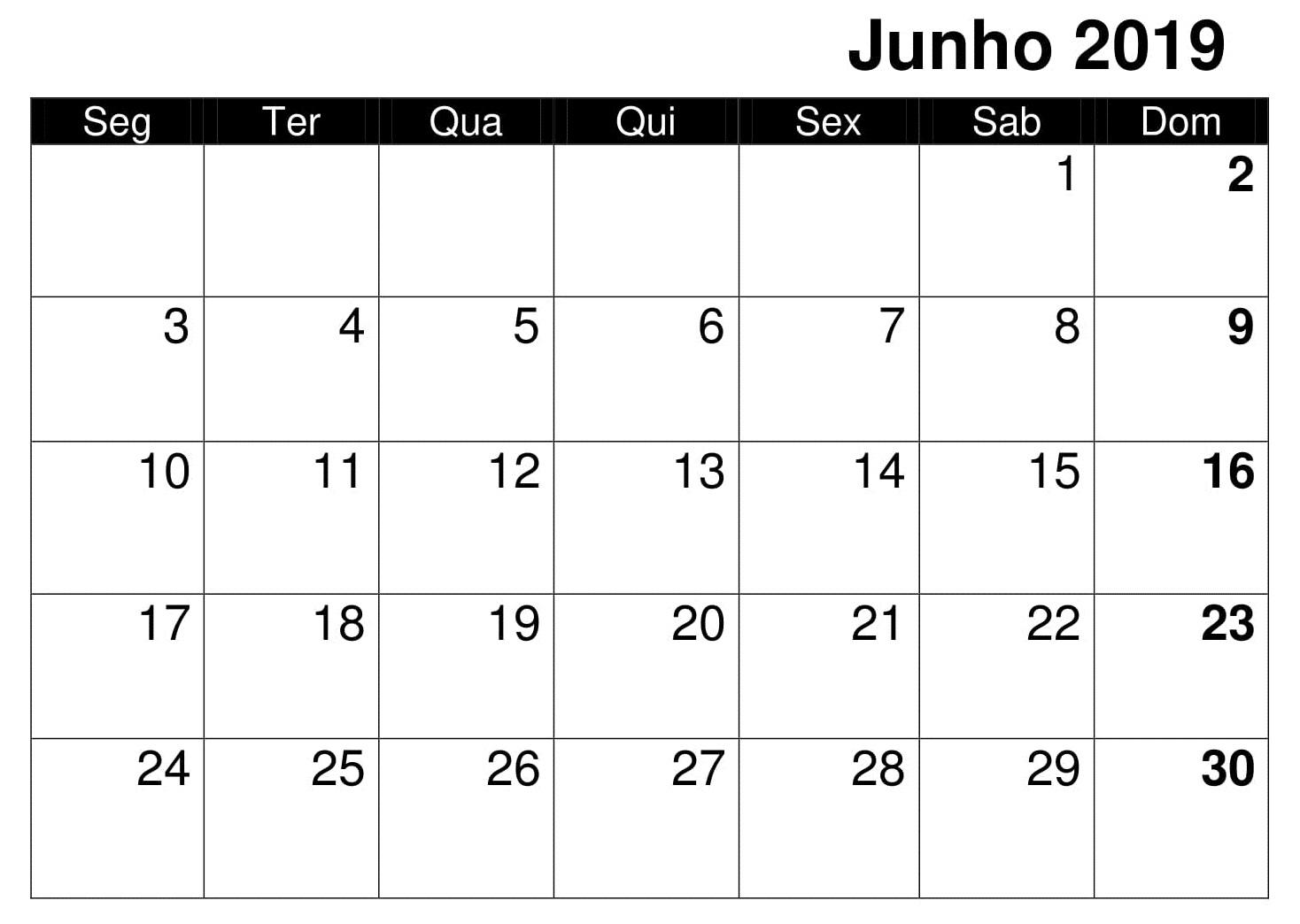 Junho Calendário 2019 Para Imprimir PDF