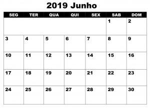 Junho Calendário 2019 Word