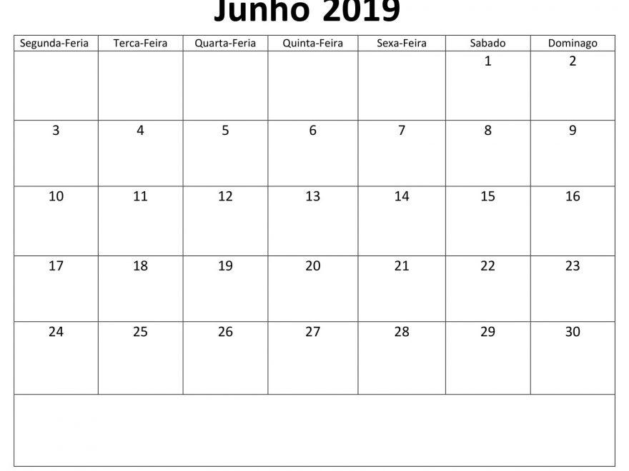 Junho Calendário Editavel 2019