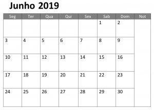 Junho Calendário Mes 2019