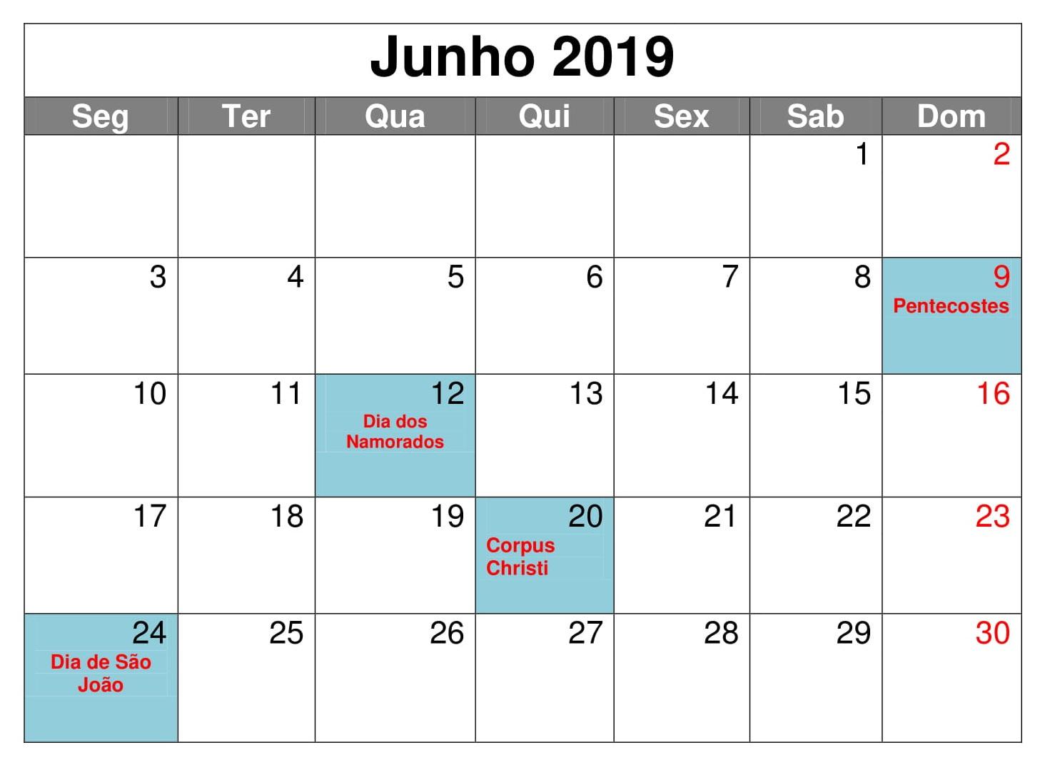 Junho Calendário Mesa 2019 Para Imprimir