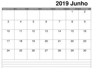 Junho Calendário Notas 2019