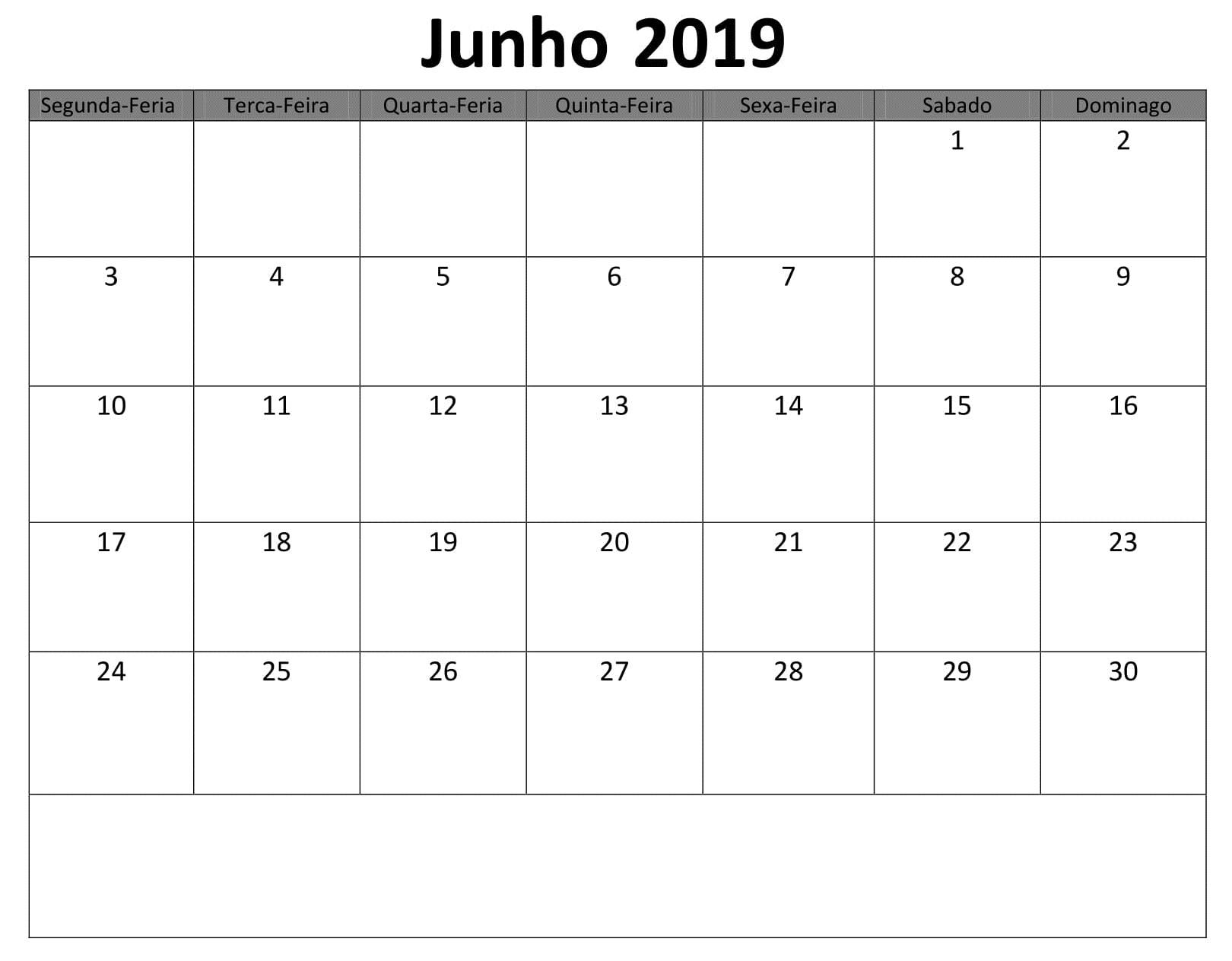 Junho Calendário Pormes 2019 Para Imprimir