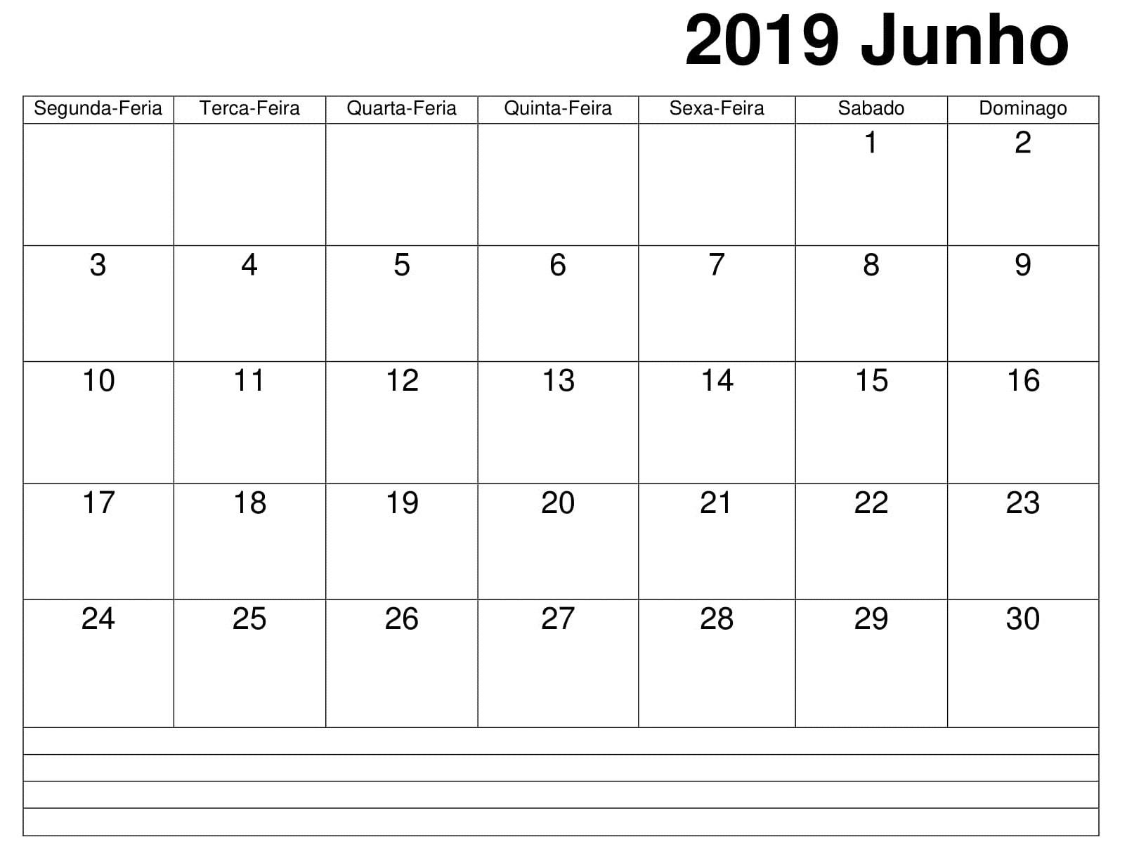 Junho Calendário Vertical 2019 Para Imprimir