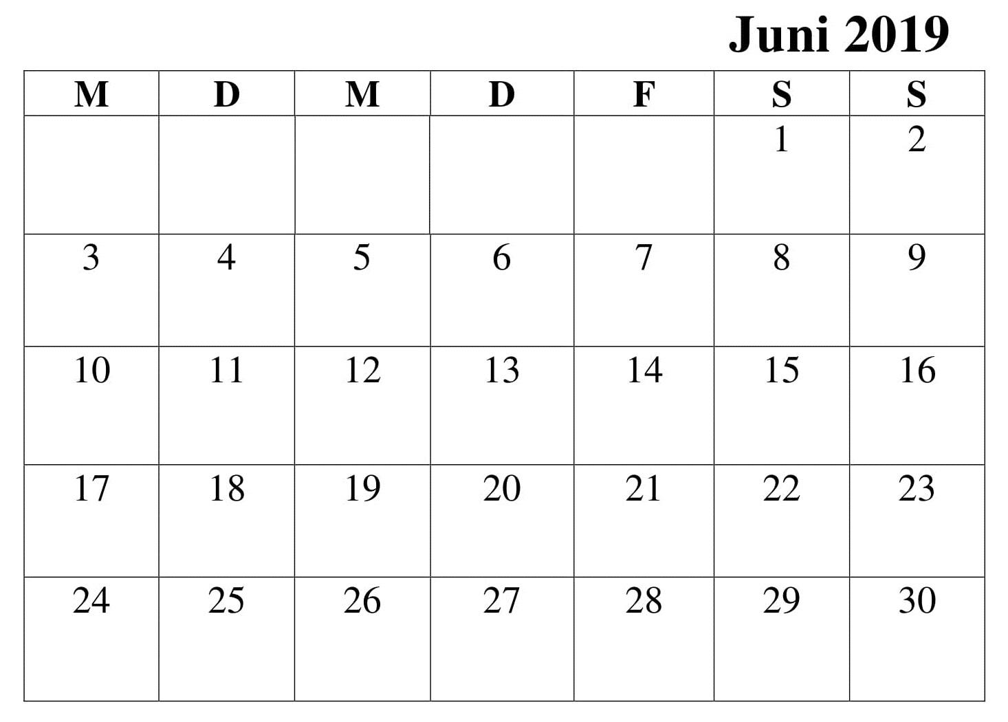 Juni Frei Kalender 2019 Zum Ausdrucken