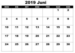Juni Kalender 2019 Excel