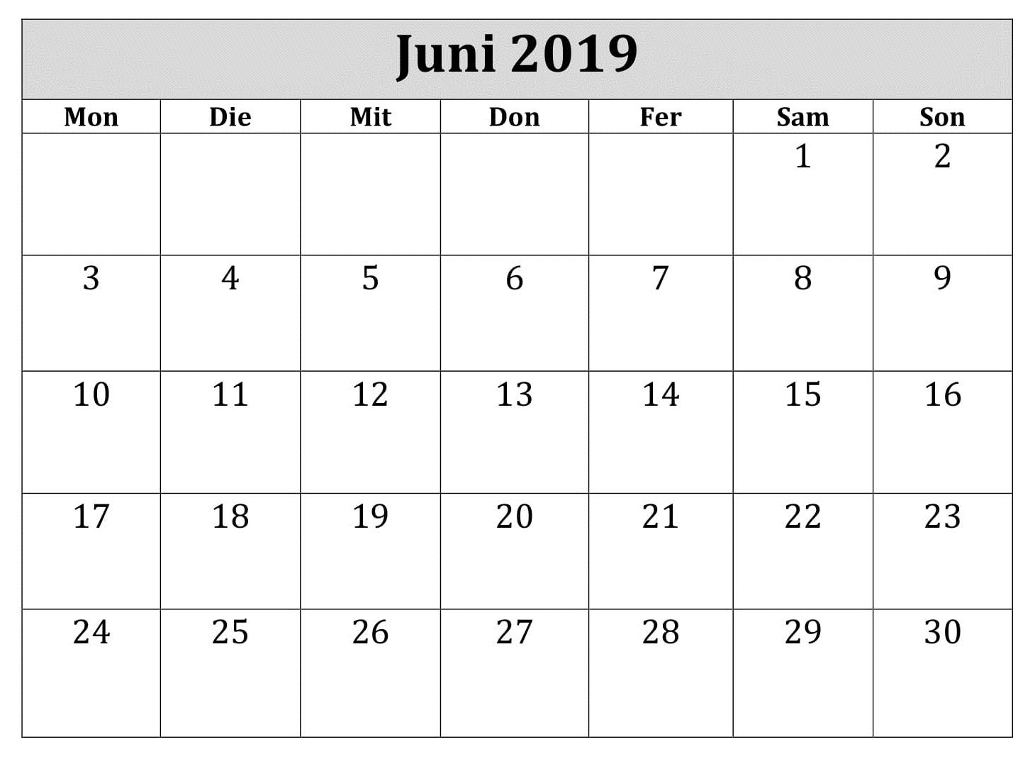 Juni Kalender 2019 Leer Zum Ausdrucken