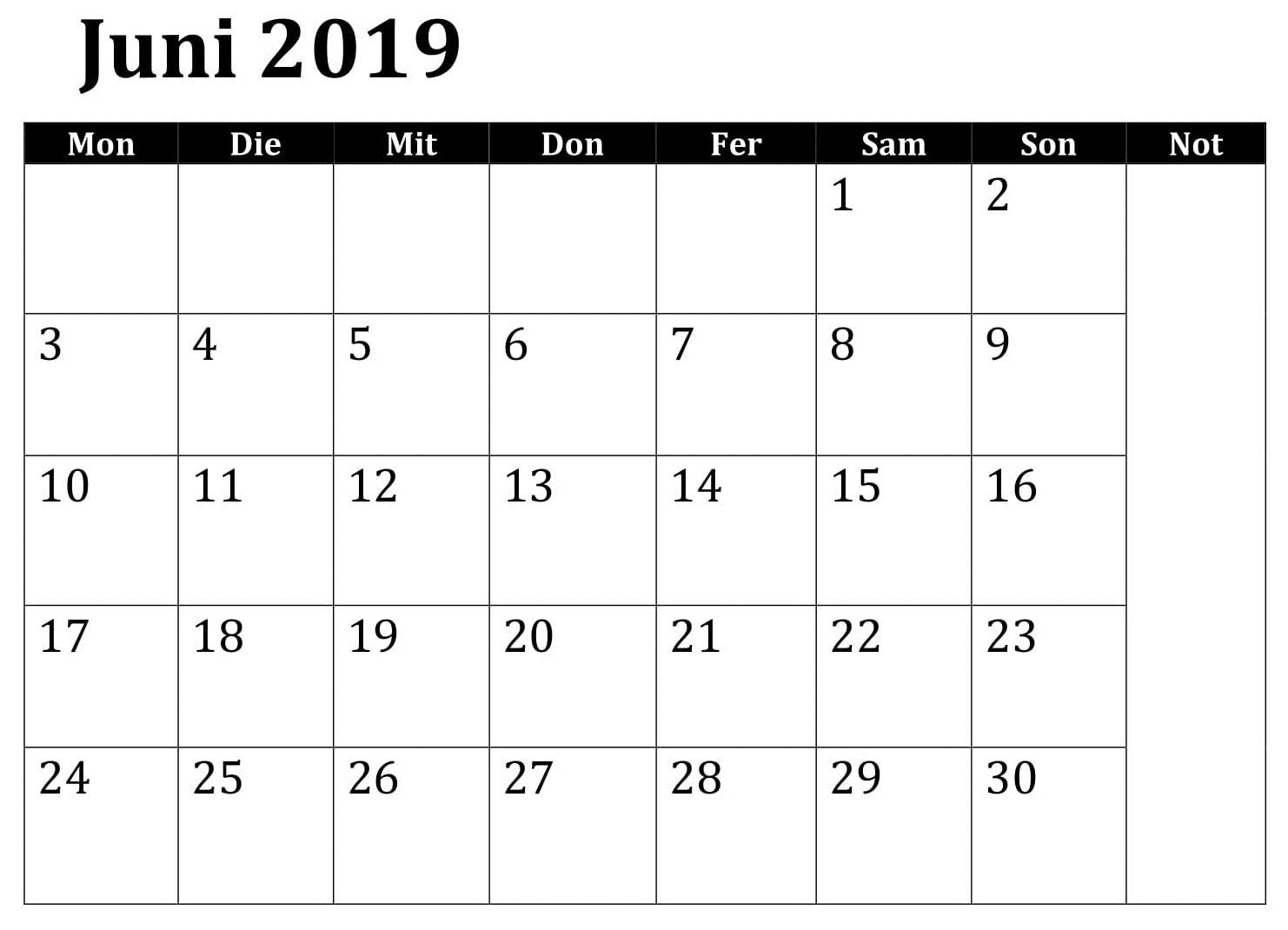 Juni Kalender 2019 Zum Ausdrucken Excel