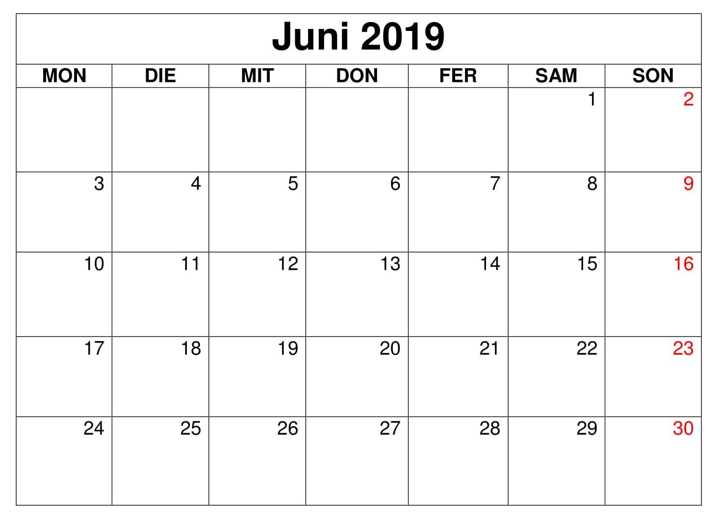 Juni Kalender Blatt 2019 Zum Ausdrucken