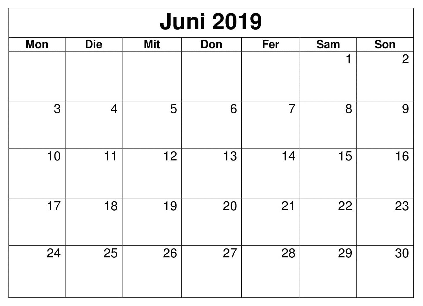 Juni Kalender Blatt 2019