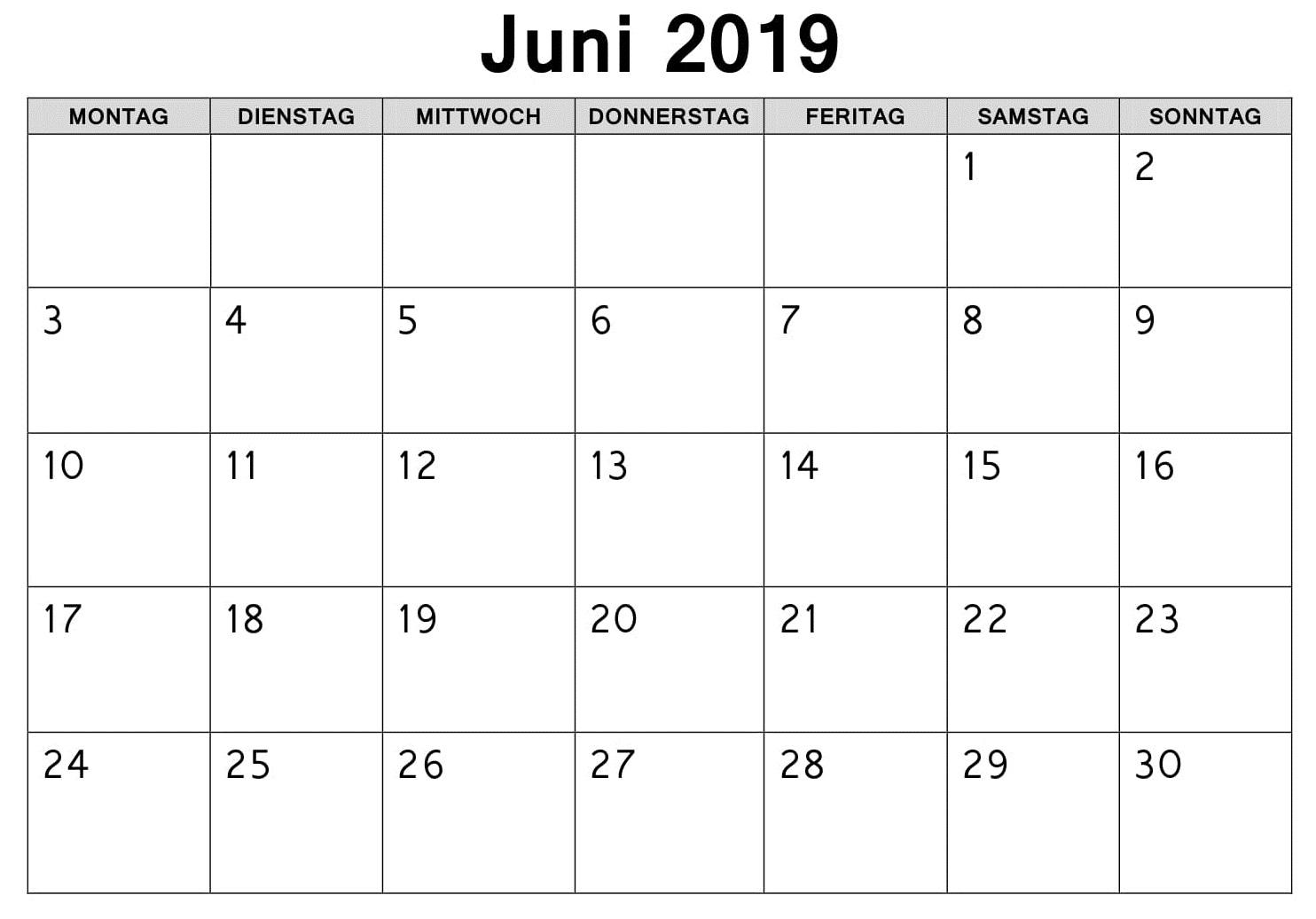 Juni Kalender Feiertage 2019 Zum Ausdrucken