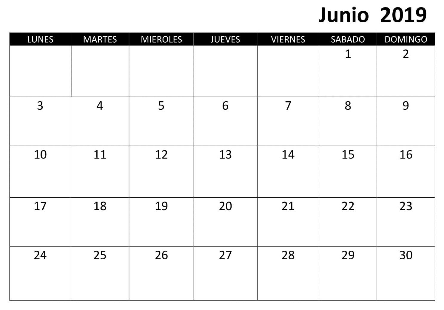 Junio Calendario 2019 Excel