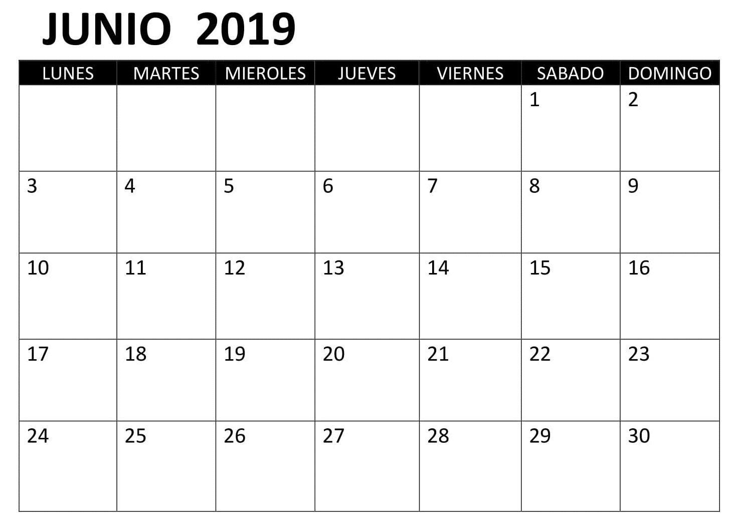 Junio Calendario 2019 PDF