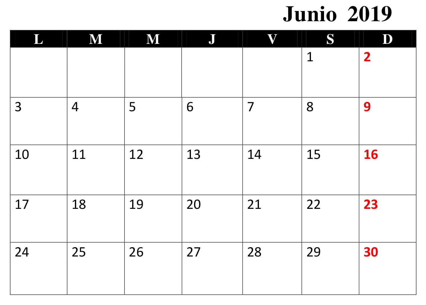 Junio Calendario 2019 Para Imprimir Excel