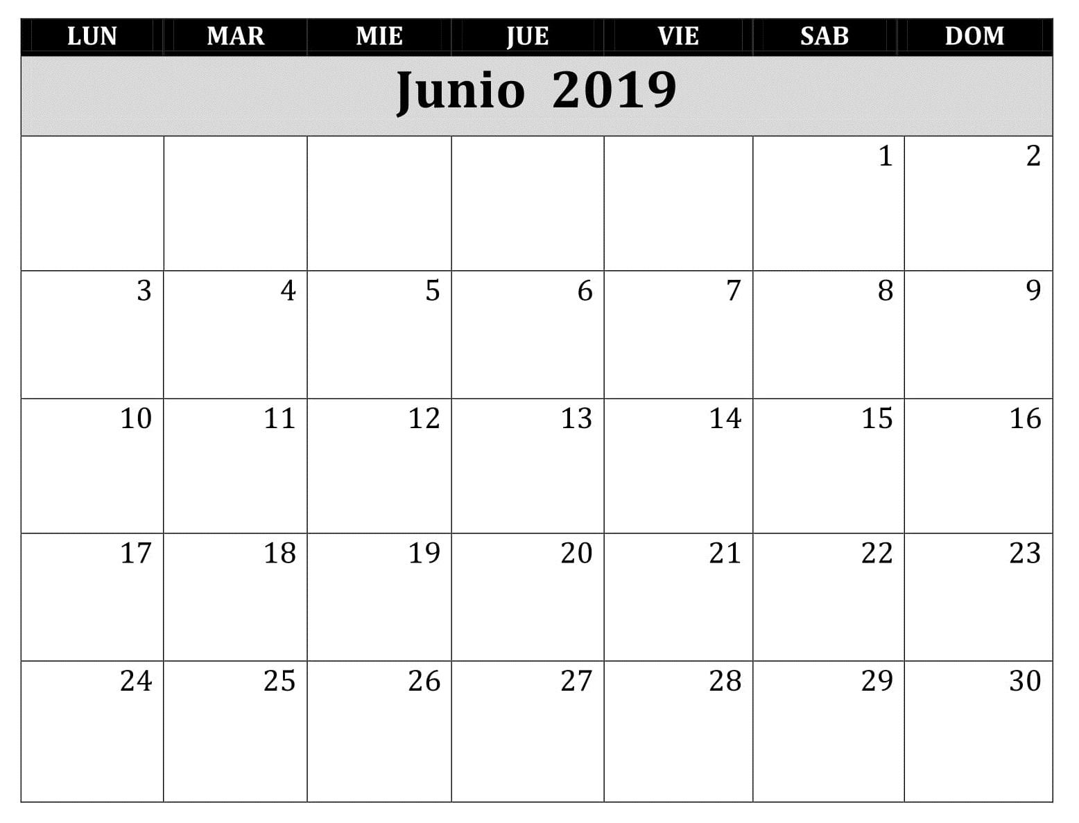 Junio Calendario 2019 Para Imprimir Word