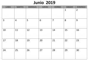 Junio Calendario Estilos 2019 Para Imprimir