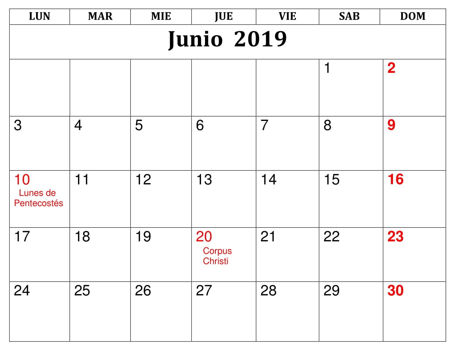 Junio Calendario Formato 2019 Para Imprimir