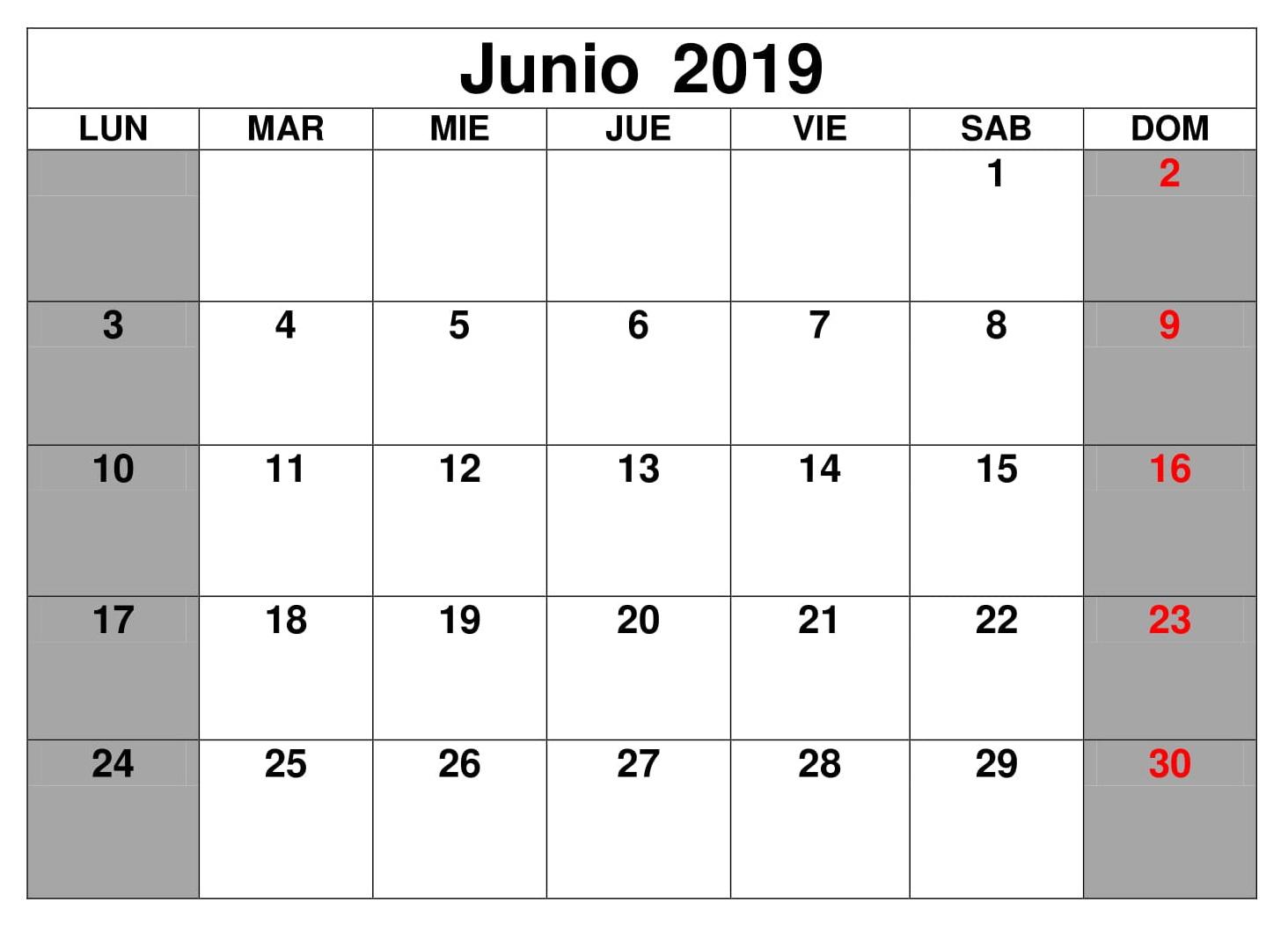 Junio Calendario Formato 2019